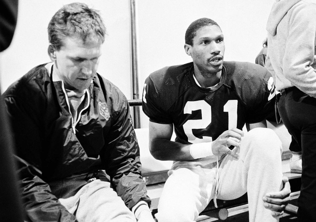 Chicago Bears cornerback Leslie Frazier relaxes in afternoon on Wednesday, Dec. 18, 1985 at the team?s Cicero, Ill., indoor training facility before practice. Frazier leads the Bears with six interceptions this season and ranks sixth with 42 solo tackles. The 26-year-old from Alcorn State has a chance at a Pro Bowl appearance, but says, ?I?d rather have the (Super Bowl) ring.? (AP Photo/John Swart)
